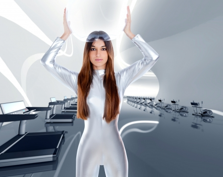 Astronaut futuristic silver woman in modern gym at spaceship indoor photo