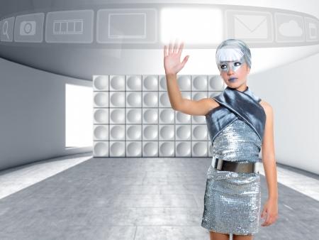futuristic children girl in silver touch finger copyspace glass screen hologram photo