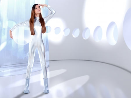 futuristic girl: Astronaut futuristic silver woman glass helmet in modern spaceship indoor