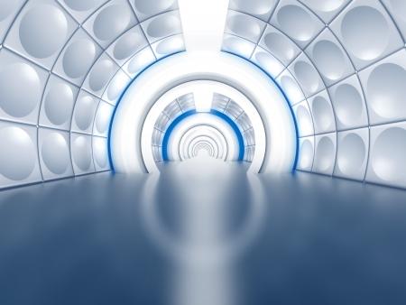 トンネル: 白熱灯と宇宙船の廊下のような未来のトンネル