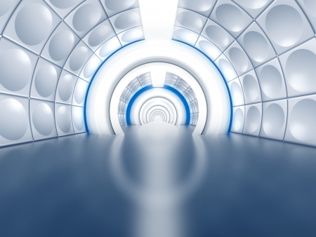 Futuristic tunnel like spaceship corridor with glowing lights photo