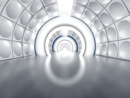 Futuristic tunnel like spaceship corridor with glowing lights Stock Photo - 16648428