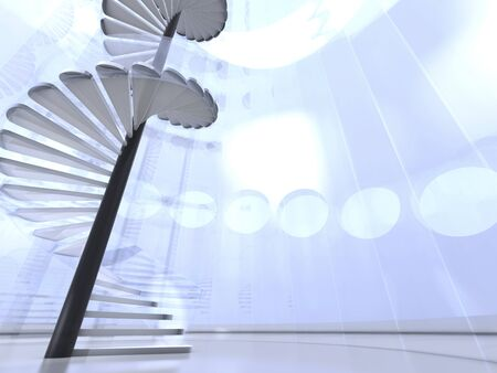 Futuristic modern round indoor with glass spiral staircase and circle windows photo