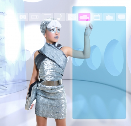 icloud: futuristic children girl in silver touch finger icloud icon glass holographic screen