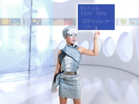holographic: futuristic children girl in silver touch finger math formula on glass screen