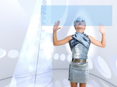 silver screen: futuristic children girl in silver touch finger copyspace glass holographic screen Stock Photo