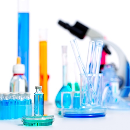 Chemical scientific laboratory stuff microscope test tube flask pipette Stock Photo - 16647916