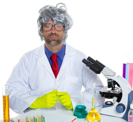 Nerd crazy scientist man portrait working at laboratory with gray hair Stock Photo - 16708983