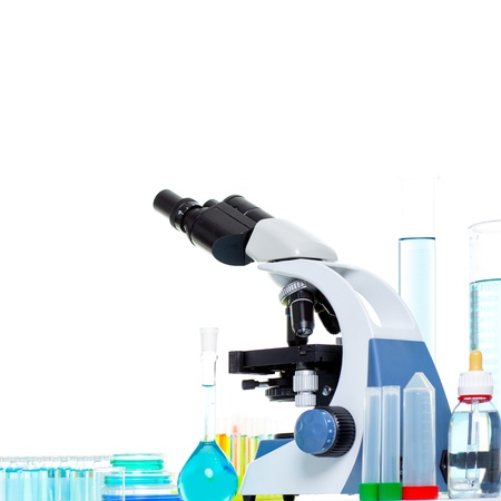 Chemical scientific laboratory stuff microscope test tube flask pipette photo