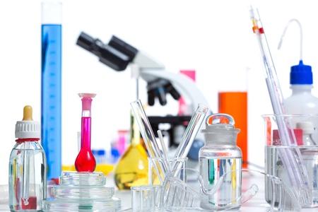 Chemical scientific laboratory stuff microscope test tube flask pipette Stock Photo - 16709247