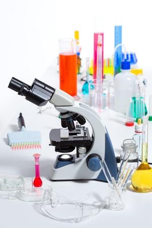 Chemical scientific laboratory stuff microscope test tube flask pipette Stock Photo - 16709213