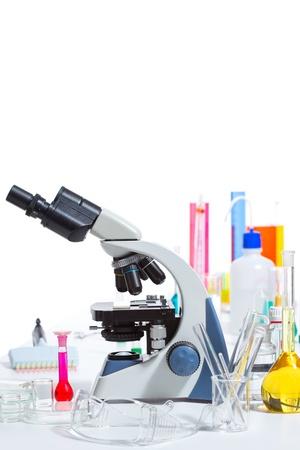 Chemical scientific laboratory stuff microscope test tube flask pipette Stock Photo - 16650826