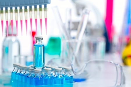 clinical research: Chemical scientific laboratory multi channel pipette and test tubes