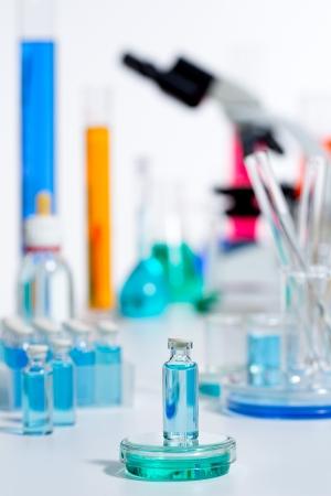 Chemical scientific laboratory stuff microscope test tube flask pipette Stock Photo - 16709205