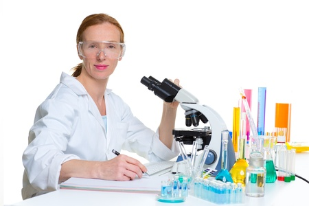 chemical laboratory scientist woman working portrait at work Stock Photo - 16651368