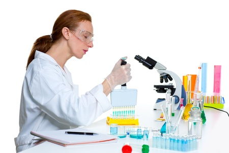 chemical laboratory scientist woman working with multi channel pipette Stock Photo - 16709068