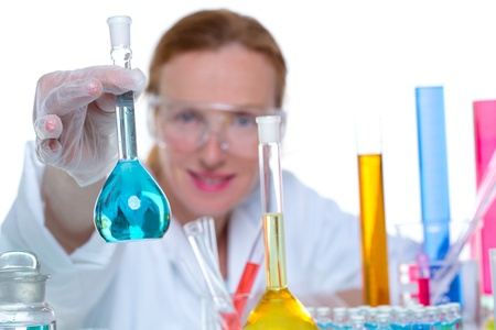 chemical laboratory scientist woman working with glass flask Stock Photo - 16650479