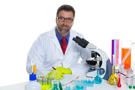 chemical laboratory scientist man working portrait on desk with microscope Stock Photo - 16651345