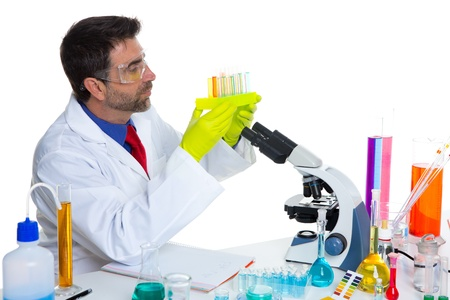 chemical laboratory scientist man working with test tubes Stock Photo - 16709242