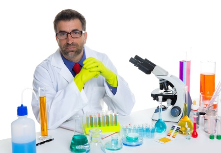 chemical laboratory scientist man working portrait on desk with microscope Stock Photo - 16651304