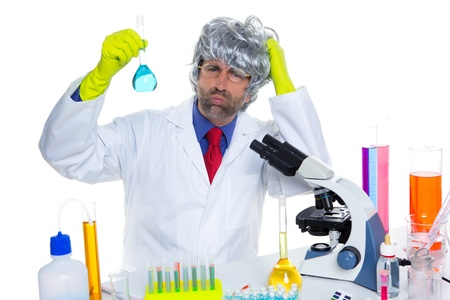 Crazy nerd scientist silly man gray hair on chemical laboratory Stock Photo - 16709251