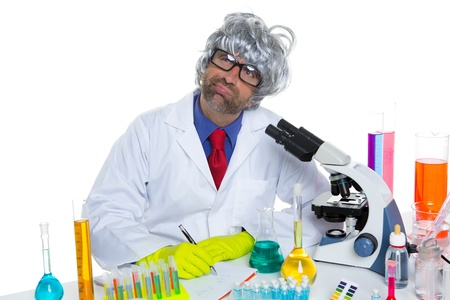 Nerd crazy scientist man portrait working at laboratory with gray hair Stock Photo - 16651222