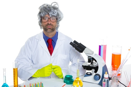 Nerd crazy scientist man portrait working at laboratory with gray hair Stock Photo - 16709211
