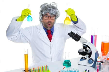 Crazy nerd scientist silly man gray hair on chemical laboratory Stock Photo - 16709200