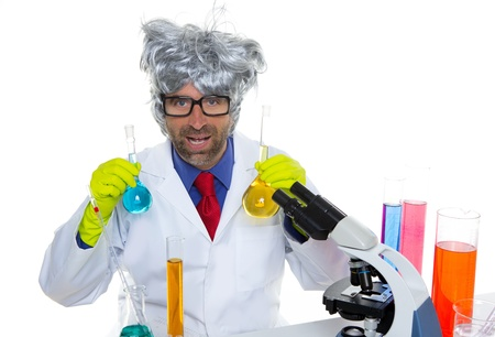 Crazy nerd scientist silly man gray hair on chemical laboratory Stock Photo - 16709137