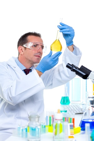 laboratory scientist working at lab with test tubes and microscope Stock Photo - 16709243