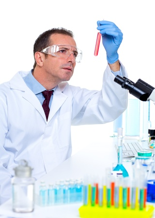 laboratory scientist working at lab with test tubes and microscope Stock Photo - 16709165