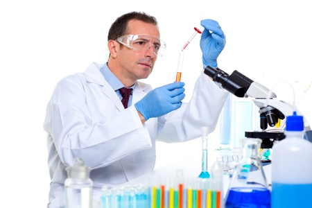 laboratory scientist working at lab with test tubes and microscope Stock Photo - 16651322
