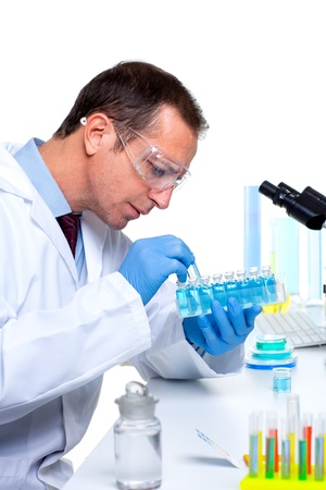 laboratory scientist working at lab with test tubes and microscope Stock Photo - 16648992