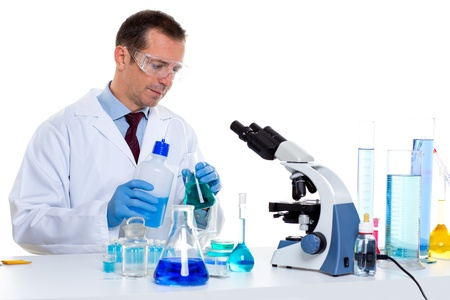 laboratory scientist working at lab with test tubes and microscope Stock Photo - 16651290