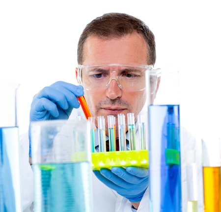 laboratory scientist working at lab with test tubes in chemical investigation photo