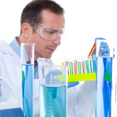 laboratory scientist working at lab with test tubes in chemical investigation Stock Photo - 16709039