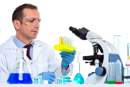laboratory scientist working at lab with test tubes and microscope Stock Photo - 16651478