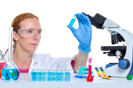 chemical laboratory scientist woman working with glass bottle photo