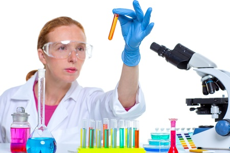 chemical laboratory scientist woman looking at test tube Stock Photo - 16651200