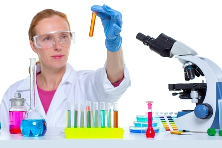 chemical laboratory scientist woman working with test tubes Stock Photo - 16708935