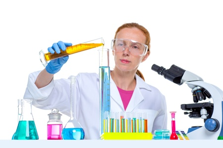 chemical laboratory scientist woman looking at test tube Stock Photo - 16650733