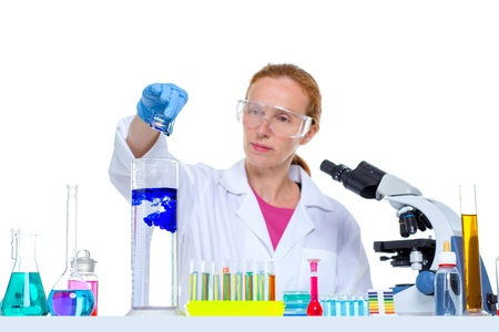 chemical laboratory scientist woman looking at test tube Stock Photo - 16648394