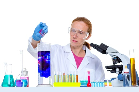 chemical laboratory scientist woman working with test tubes Stock Photo - 16650697