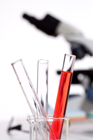 Chemical scientific laboratory stuff test tubes detail macro Stock Photo - 16651467