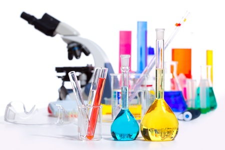 Chemical scientific laboratory stuff microscope test tube flask pipette Stock Photo - 16651465