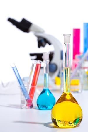 Chemical scientific laboratory stuff microscope test tube flask pipette Stock Photo - 16651328