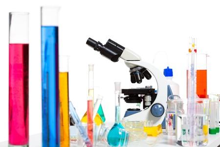 Chemical scientific laboratory stuff microscope test tube flask pipette Stock Photo - 16709013