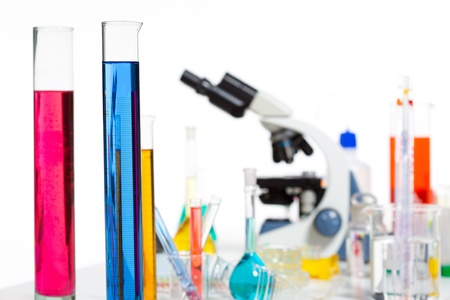 Chemical scientific laboratory stuff microscope test tube flask pipette Stock Photo - 16650908