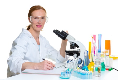chemical laboratory scientist woman working portrait at work Stock Photo - 16663925