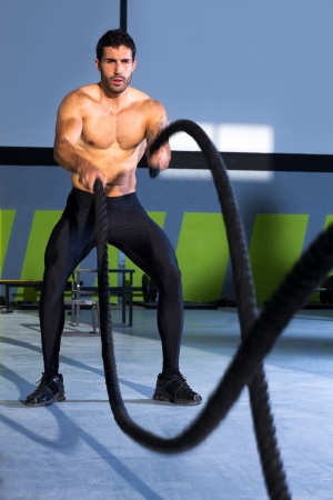 Crossfit battling ropes at gym workout fitness exercise Stock Photo - 17050602